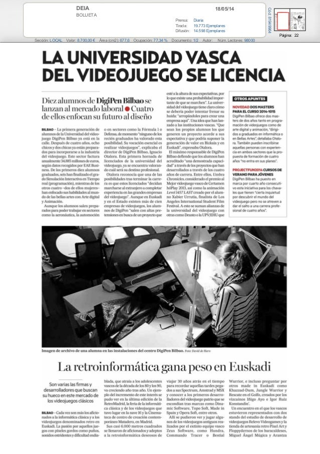 18/05/14DEIA BOLUETA Prensa: Diaria Tirada: 19.773 Ejemplares Difusión: 14.598 Ejemplares Página: 22 Sección: LOCAL Valor:...