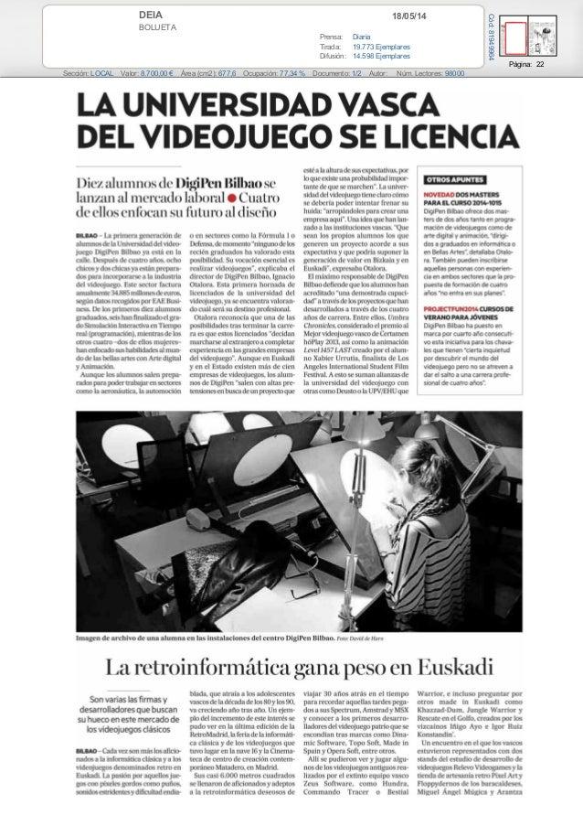 La Universidad Vasca del videojuego se licencia (Diario Deia)