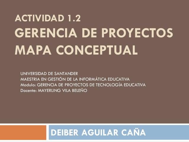 ACTIVIDAD 1.2 GERENCIA DE PROYECTOS MAPA CONCEPTUAL DEIBER AGUILAR CAÑA UNIVERSIDAD DE SANTANDER MAESTRIA EN GESTIÓN DE LA...