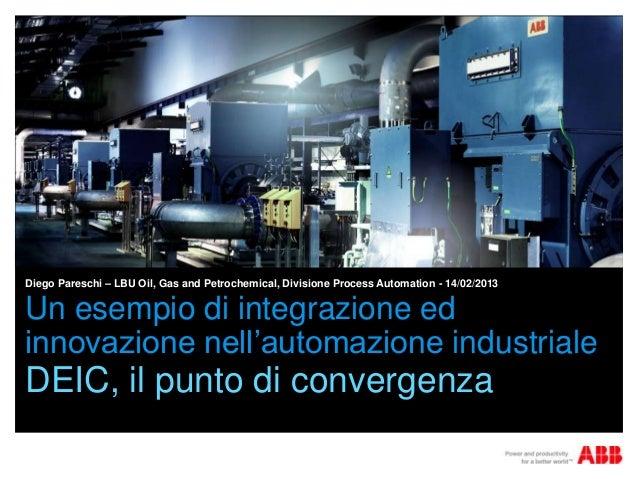 Diego Pareschi – LBU Oil, Gas and Petrochemical, Divisione Process Automation - 14/02/2013Un esempio di integrazione edinn...