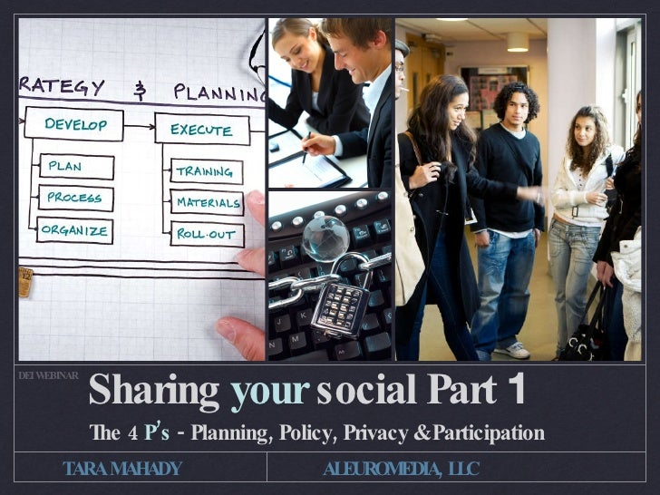 SHARING YOUR SOCIAL PART 1 DEI WEBINAR                   THE 4 P'S - PLANNING, POLICY, PRIVACY & PARTICIPATION         TAR...