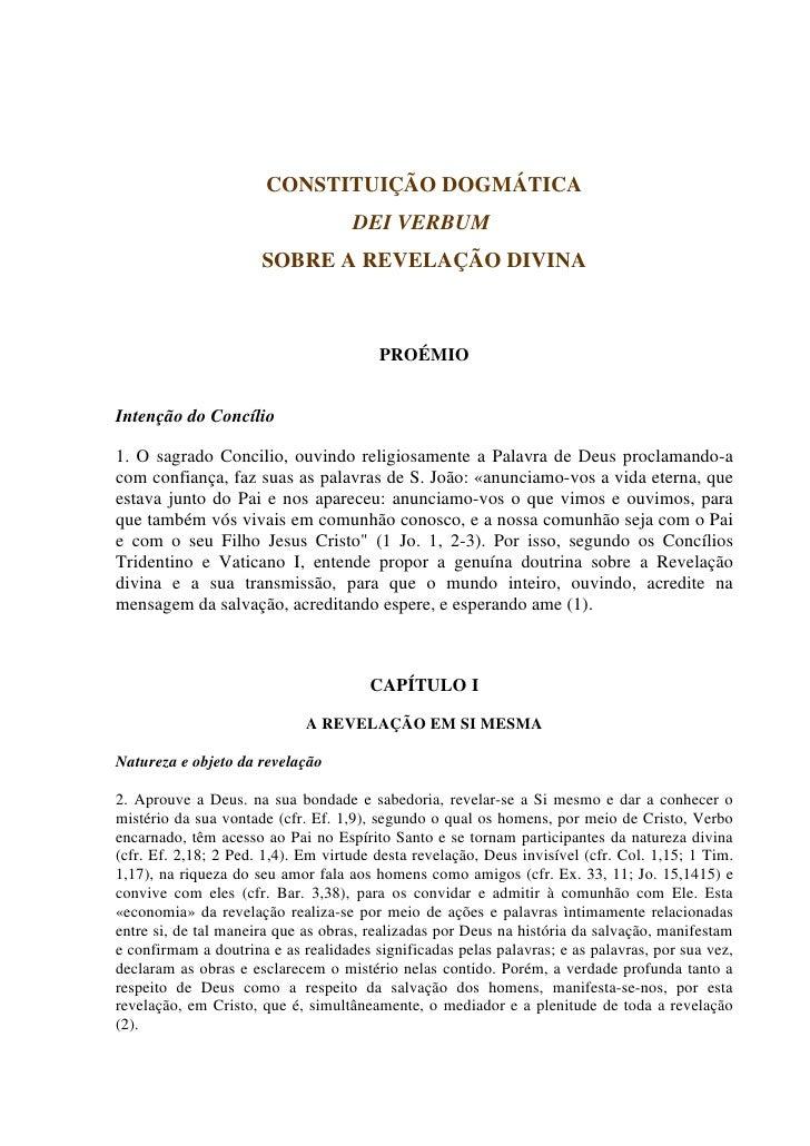 CONSTITUIÇÃO DOGMÁTICA                                    DEI VERBUM                      SOBRE A REVELAÇÃO DIVINA        ...