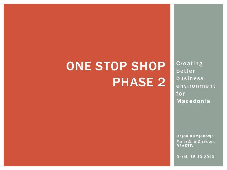 ONE STOP SHOP   Creating                 better        PHASE 2   business                 environment                 for ...