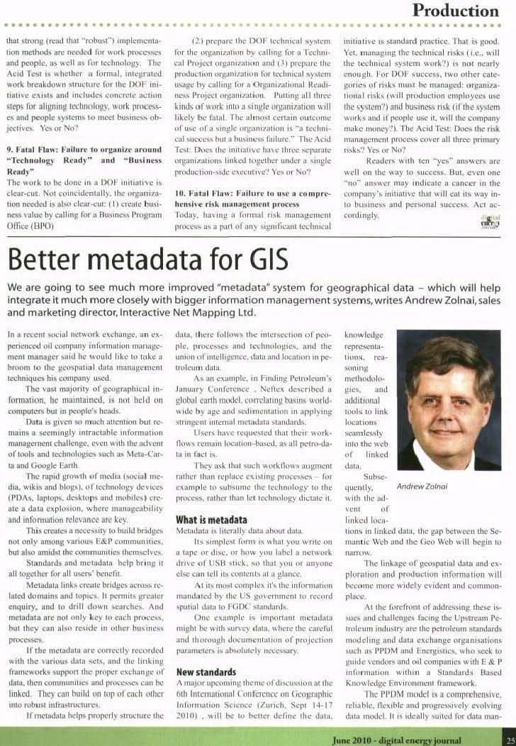 Better Metadata for GIS