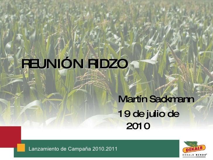 REUNIÓN RIDZO <ul><li>Martín Sackmann </li></ul><ul><li>19 de julio de  2010 </li></ul>