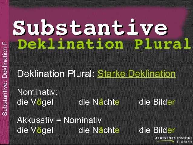 Substantive: Deklination Plural  sein  Substantive  DeklinationPlural  Deklination Plural: Starke Deklination Nominativ: ...