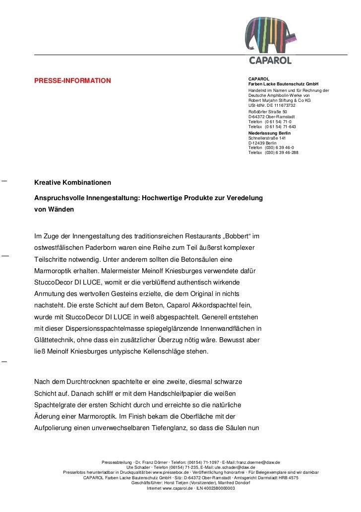 CAPAROLPRESSE-INFORMATION                                                                                       Farben Lac...