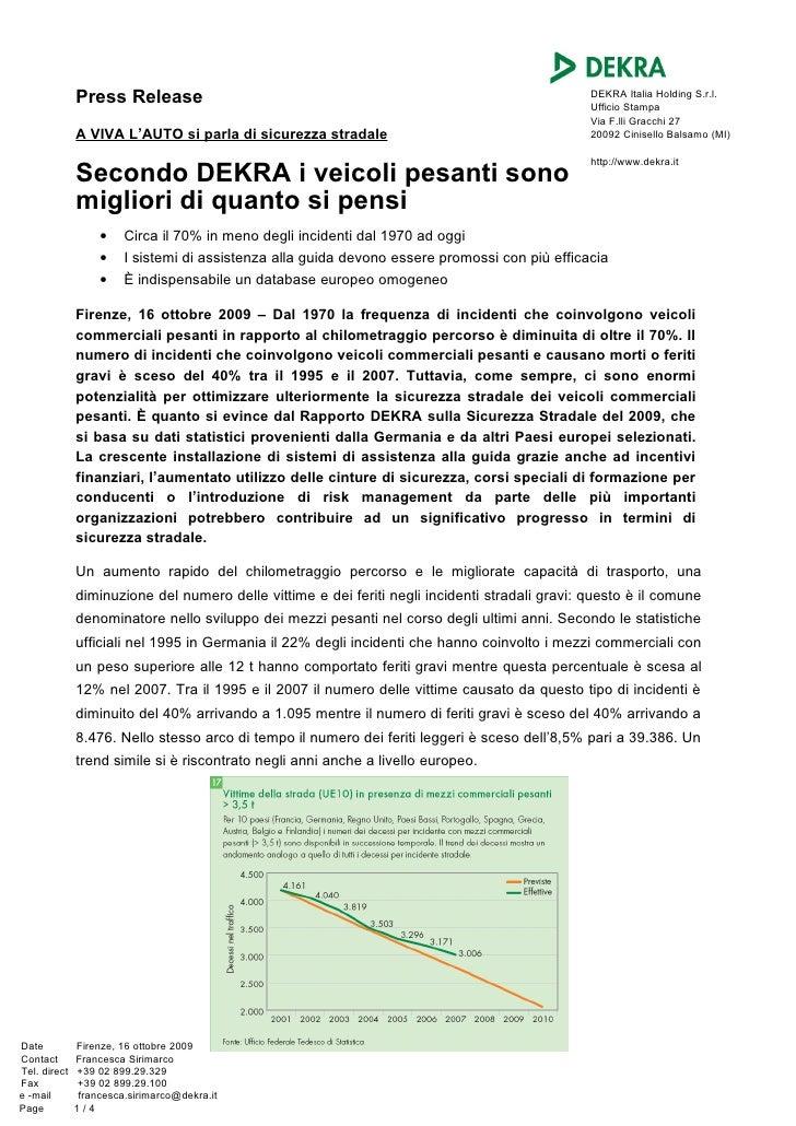 Press Release                                                                     DEKRA Italia Holding S.r.l.             ...