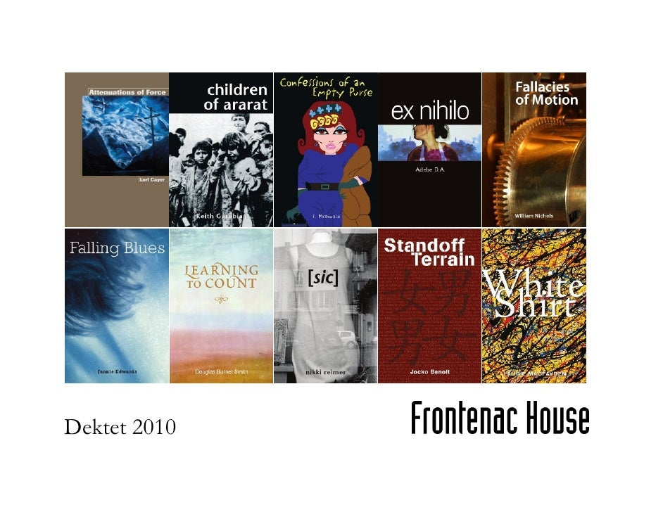 Frontenac House' DEKTET 2010, 10 Poetry Books Publishing in April 2010