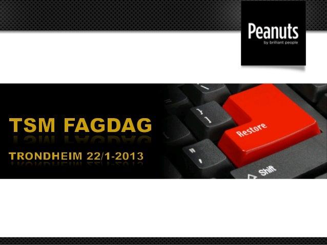 IBM og Peanuts ønsker velkommen til seminarTivoli Storage Manager 6.4Agenda:• Om IBM og Peanuts v/Olaf Frøseth og Jan E. ...