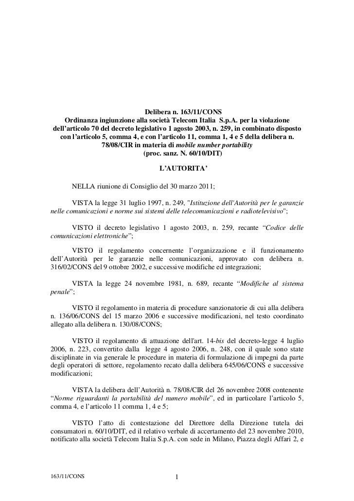 Delibera n. 163/11/CONS