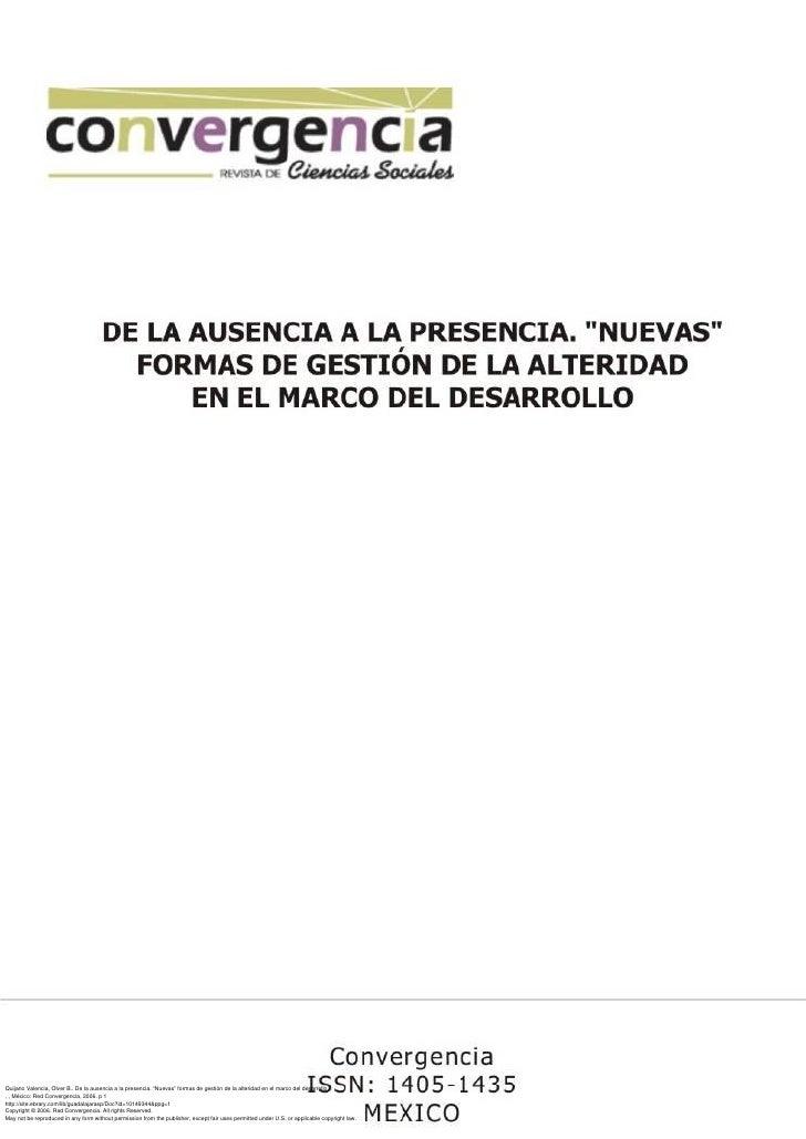 """Quijano Valencia, Olver B.. De la ausencia a la presencia. """"Nuevas"""" formas de gestión de la alteridad en el marco del desa..."""