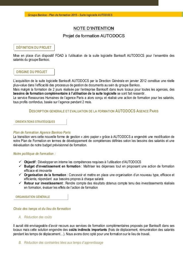 NOTENOTENOTENOTE D'INTENTIOND'INTENTIOND'INTENTIOND'INTENTION Projet de formation AUTODOCSProjet de formation AUTODOCSProj...