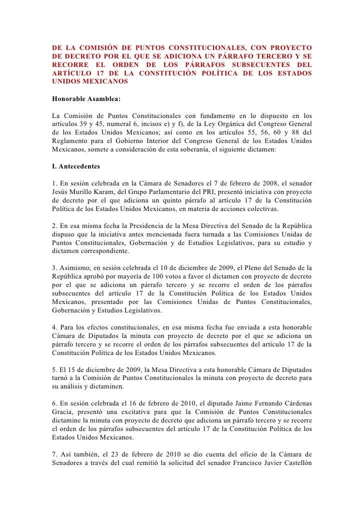 DE LA COMISIÓN DE PUNTOS CONSTITUCIONALES, CON PROYECTO DE DECRETO POR EL QUE SE ADICIONA UN PÁRRAFO TERCERO Y SE RECORRE ...