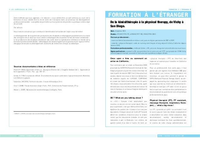 FORMATION À L'ÉTRANGER  FORMATION À L'ÉTRANGER  SNIFMK | L'Institulien - N°01 Juin 2011 | 25  LES EXPÉRIENCES EN IFMK  Cet...