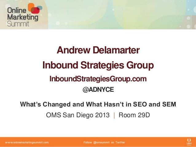 Andrew DelamarterInbound Strategies GroupInboundStrategiesGroup.com@ADNYCEWhat's Changed and What Hasn't in SEO and SEMOMS...
