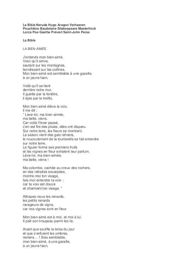 La Bible Neruda Hugo Aragon Verhaeren Pouchkine Baudelaire Shakespeare Maeterlinck Lorca Poe Goethe Prévert Saint-John Per...