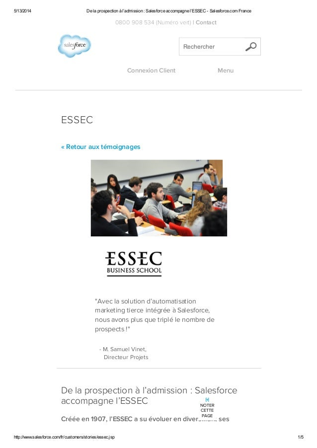 5/13/2014 De la prospection à l'admission : Salesforce accompagne l'ESSEC - Salesforce.com France http://www.salesforce.co...
