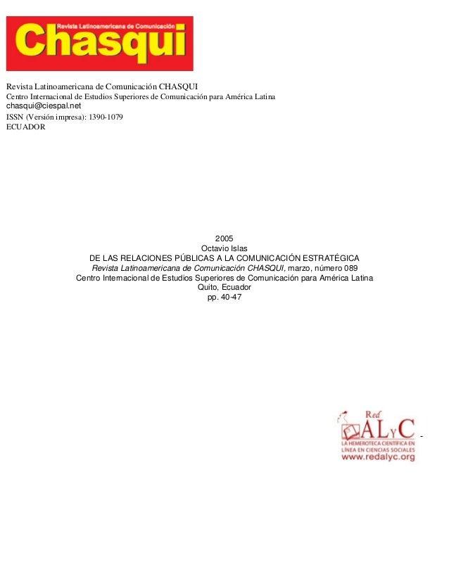 Revista Latinoamericana de Comunicación CHASQUI Centro Internacional de Estudios Superiores de Comunicación para América L...