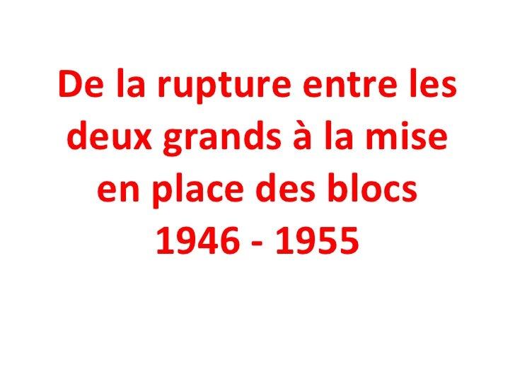 De la rupture entre les deux grands à la mise en place des blocs 1946 - 1955