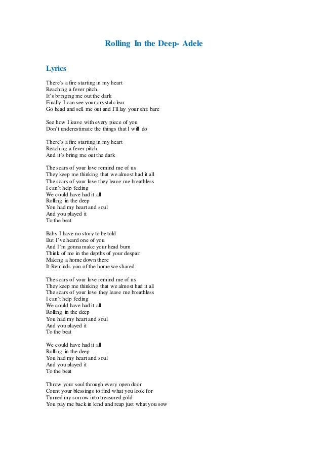 Pin Adele-rolling-in-the-deep-lyrics-unedited on Pinterest Rolling In The Deep Lyrics