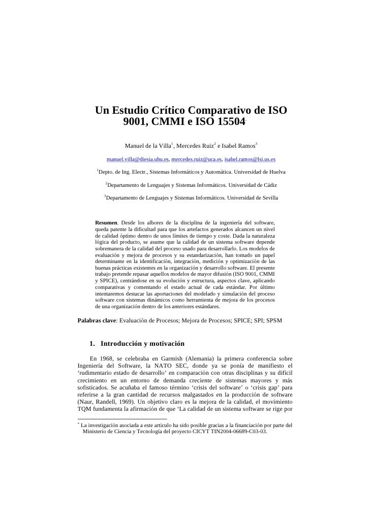 A critical and comparative study about  ISO 9001, CMMI and ISO 15504