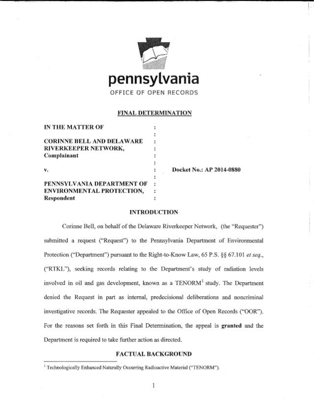Final Determination of PA Office of Open Records Granting Access to Half-Baked DEP Data on Radiation