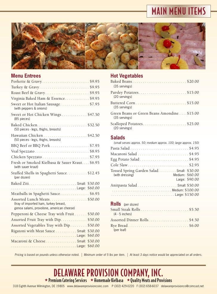 Delaware Provision Catering Menu