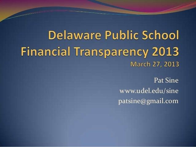 Delaware Public School Financial Transparency 2013