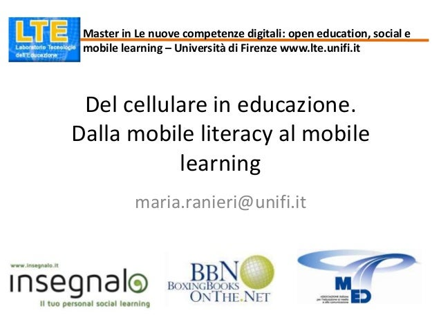 Del cellulare in educazione. Dalla mobile literacy al mobile learning