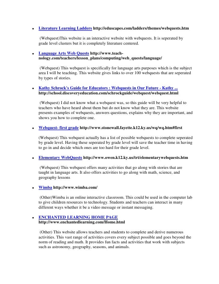 """HYPERLINK """" http://eduscapes.com/ladders/themes/webquests.htm""""  Literature Learning Ladders http://eduscapes.com/ladders/..."""