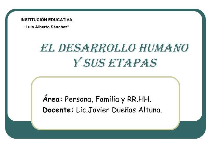 EL DESARROLLO HUMANO y sus etapas Área:  Persona, Familia y RR.HH. Docente:  Lic.Javier Dueñas Altuna. INSTITUCIÓN EDUCATI...