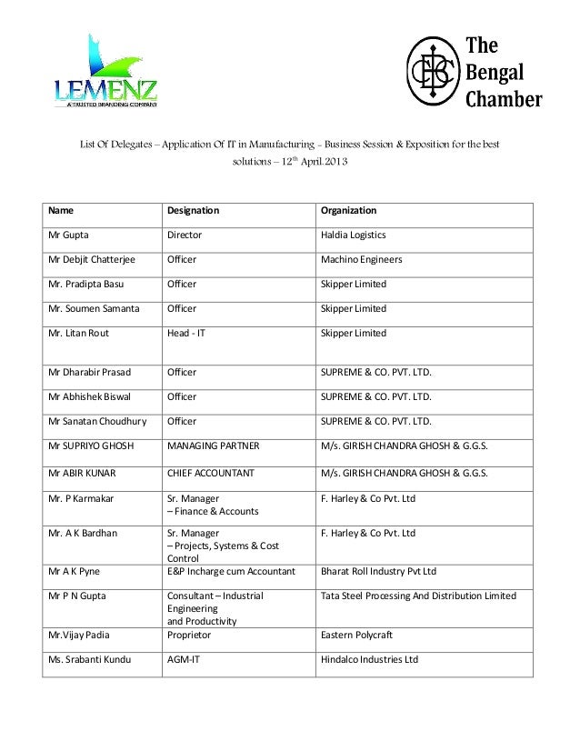 List Of Delegates – Application Of IT in Manufacturing - Business Session & Exposition for the best solutions – 12th April...