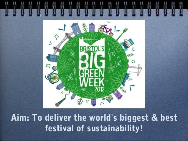 Aim: To deliver the world's biggest & best        festival of sustainability!