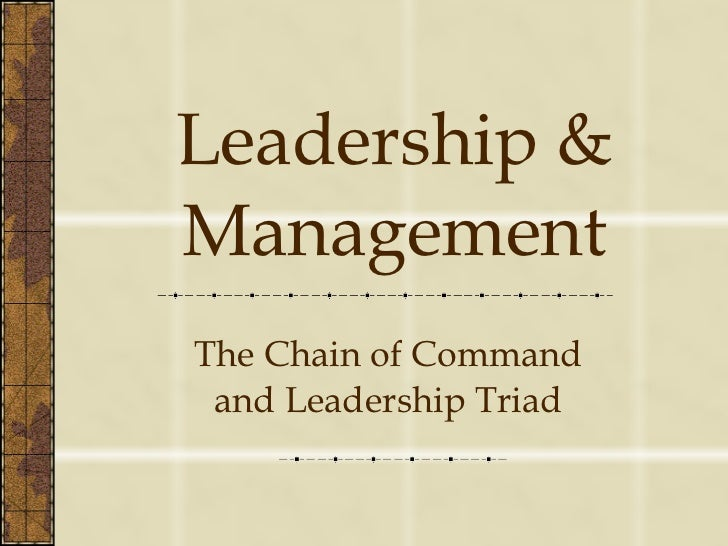 Leadership & Management The Chain of Command and Leadership Triad