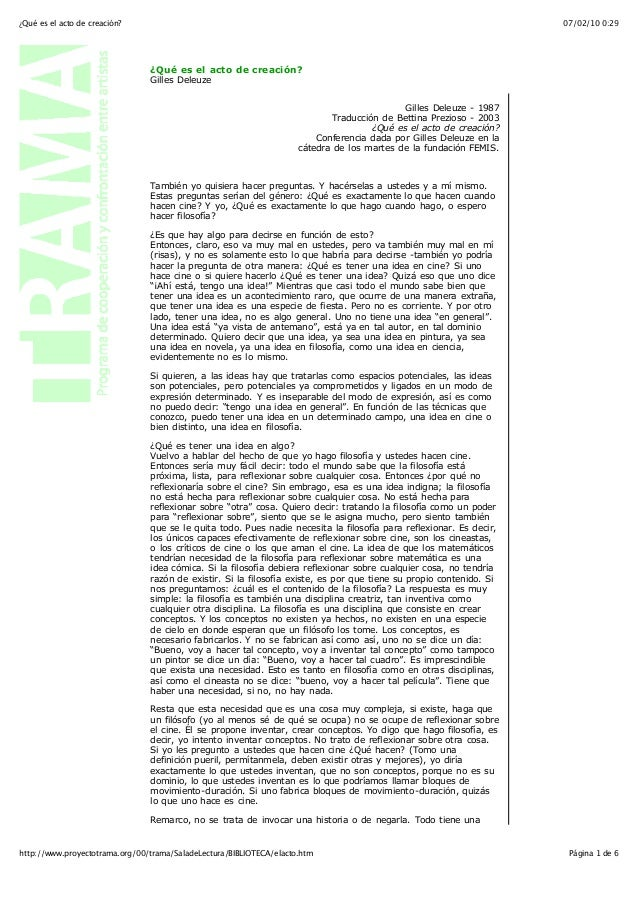 07/02/10 0:29¿Qué es el acto de creación? Página 1 de 6http://www.proyectotrama.org/00/trama/SaladeLectura/BIBLIOTECA/elac...