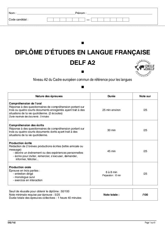 Nom :  Prénom :  Code candidat :  . —  DIPLÔME D'ÉTUDES EN LANGUE FRANÇAISE DELF A2 Niveau A2 du Cadre européen commun de ...