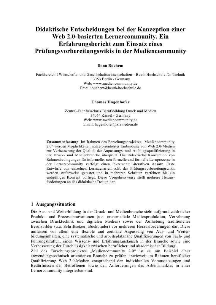 Prüfungsvorbereitungswiki der Mediencommunity 2.0 - Beitrag für die DeLFI Jahrestagungs 2009 Berlin