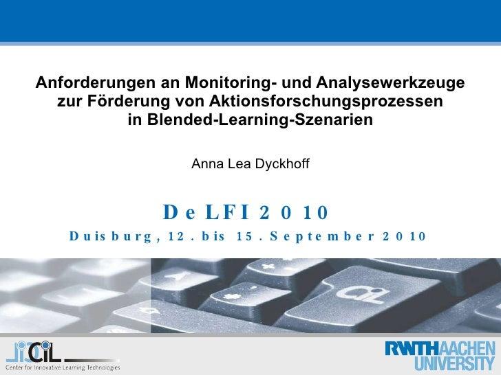 Anforderungen an Monitoring- und Analysewerkzeugezur Foerderung von Aktionsforschungsprozessenin Blended-Learning-Szenarien