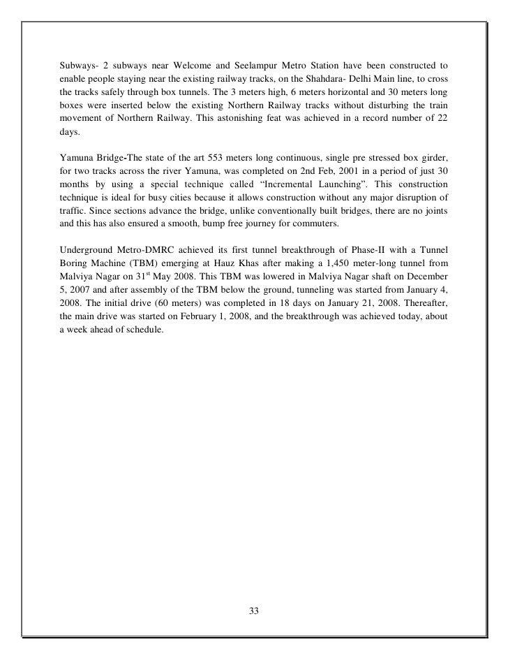 Essay on metro rail in english