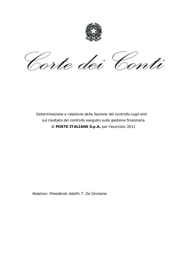 Delibera 19 2013 corte dei conti gestione finanziaria poste italiane 2011