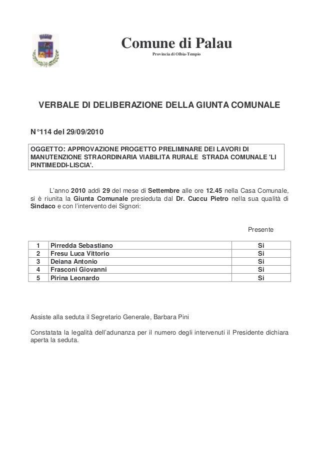 Comune di Palau Provincia di Olbia-Tempio  VERBALE DI DELIBERAZIONE DELLA GIUNTA COMUNALE N° 114 del 29/09/2010 OGGETTO: A...