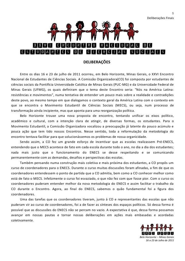 Deliberações Finais XXVI ENECS