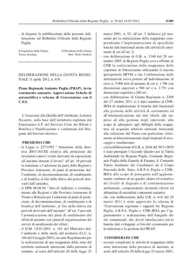 Bollettino Ufficiale della Regione Puglia - n. 70 del 16-05-2012  - di disporre la pubblicazione della presente deliberazi...