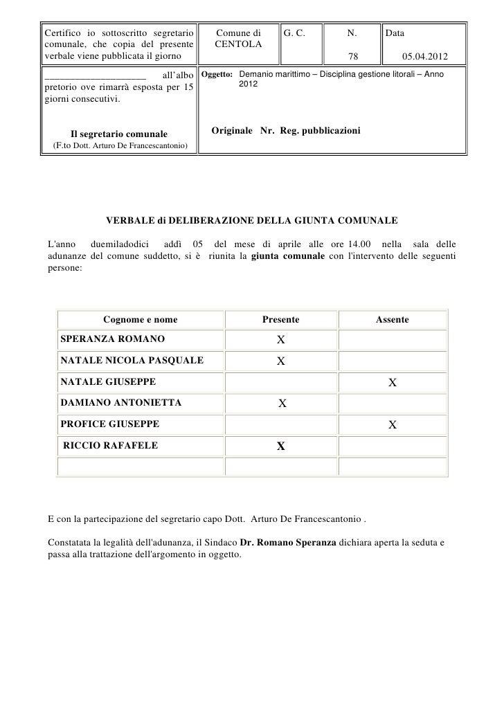 Direttive per la gestione del litorale 2012 - Comune di Centola