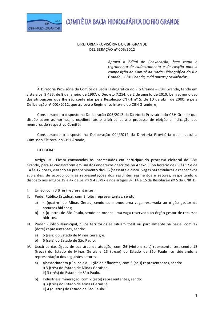 Deliberação 05 2012 - edital de convocação