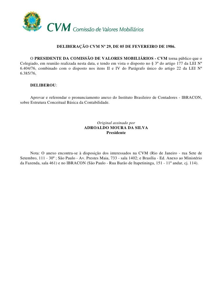 DELIBERAÇÃO CVM Nº 29, DE 05 DE FEVEREIRO DE 1986.       O PRESIDENTE DA COMISSÃO DE VALORES MOBILIÁRIOS - CVM torna públi...