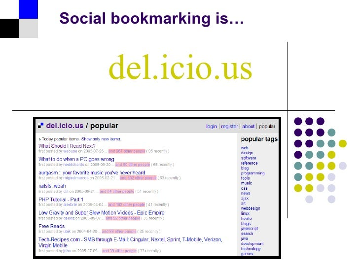 del.icio.us Social bookmarking is…