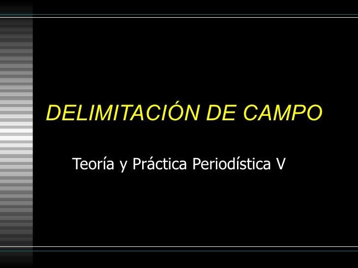 DELIMITACIÓN DE CAMPO Teoría y Práctica Periodística V