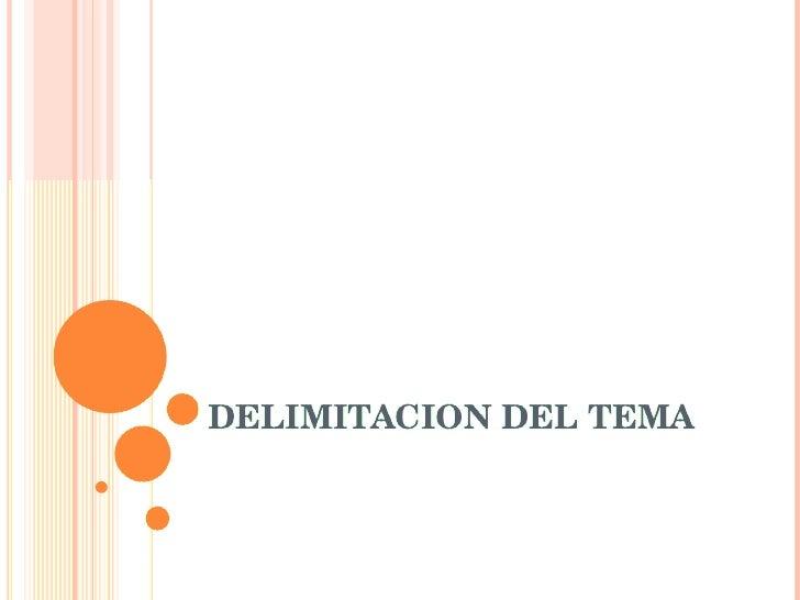Delimitacion Del Tema